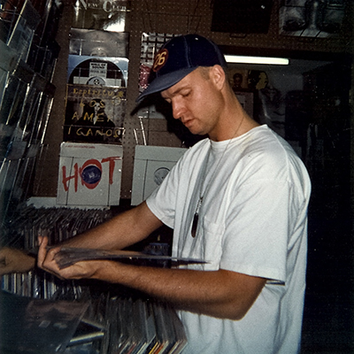 DJ Dan shopping in a record store