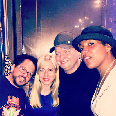 DJ Dan hanging with Mark Farina, DJ Colette, and DJ Heather